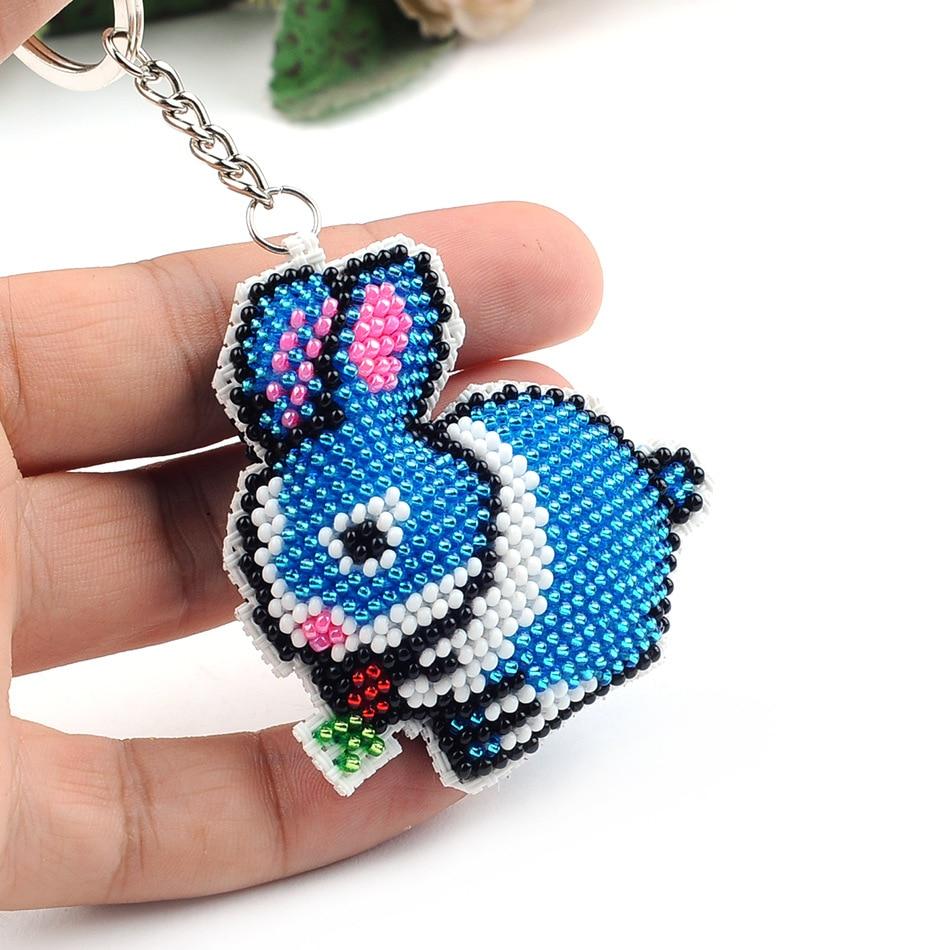 6.3cm Beads Toys For Children Embroidered Blue Rabbit Keychain Cross-stitch Handicrafts Toy Kit Kids Handmade Adult Girl Gift