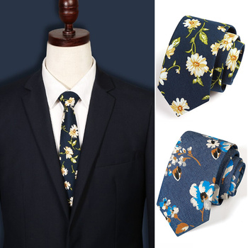 High Quality 2019 New Designers Brands Fashion Business Casual 6.5cm Slim Ties for Men Flower Necktie Work with Gift Box Blue