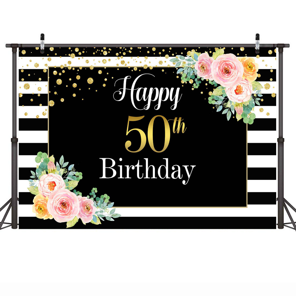 Happy 50th Birthday Photography Backdrop For Adult Man Woman Flowers Gold Dots Background Photocall White And Black Stripes Background Aliexpress