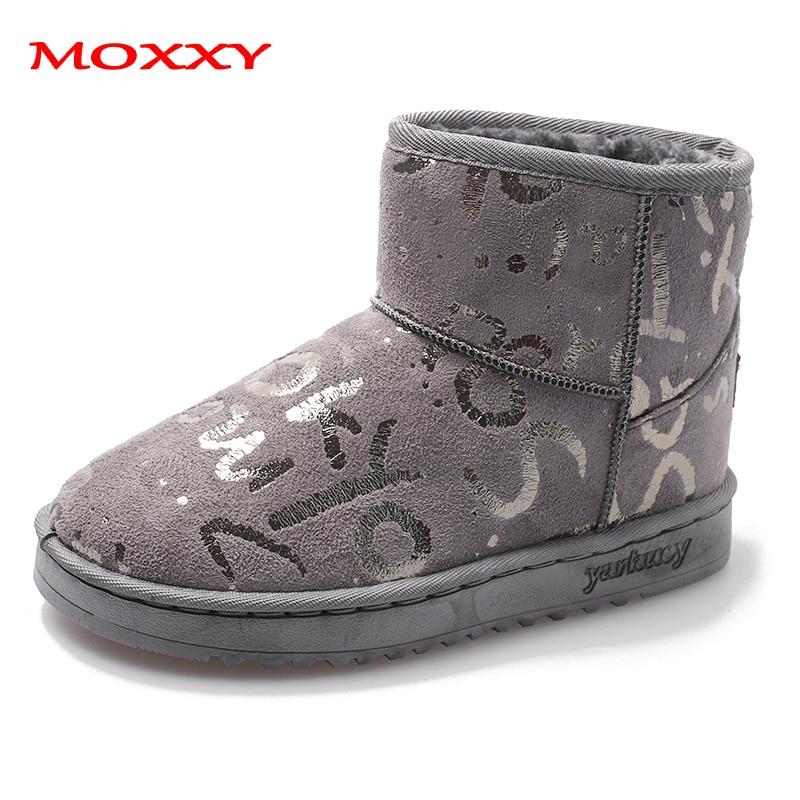 2019 New Designer Warm Snow Boots Women Grey Glitter Graffiti Flat Winter Boots Female Suede Plush Platform Shoes Woman Non-Slip