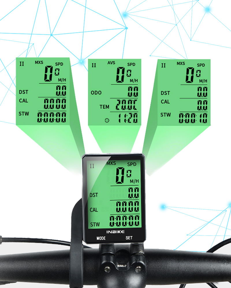 INBIKE Rainproof Large Screen Bicycle Computer 2.8'' Wireless Bike Computer Speedometer Odometer Cycling Measurable Stopwatch
