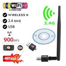 900Mbps kablosuz USB WiFi adaptörü Dongle ağ LAN kartı 802.11b/g/n w/anten sürücüsü CD