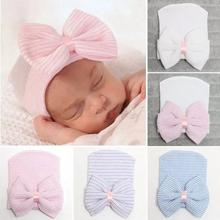 2021 Baby Accessories Newborn Baby Infant Unisex Toddler Comfy Bowknot Hospital Cap Beanie Hat Turban Soft Warm Striped Caps New cheap CN(Origin) 0-6m COTTON Fitted Baby Girls Solid 0-3 months 4-6 months (Baby Clothing blue white Light Pink Pink stripe 12 x 10cm