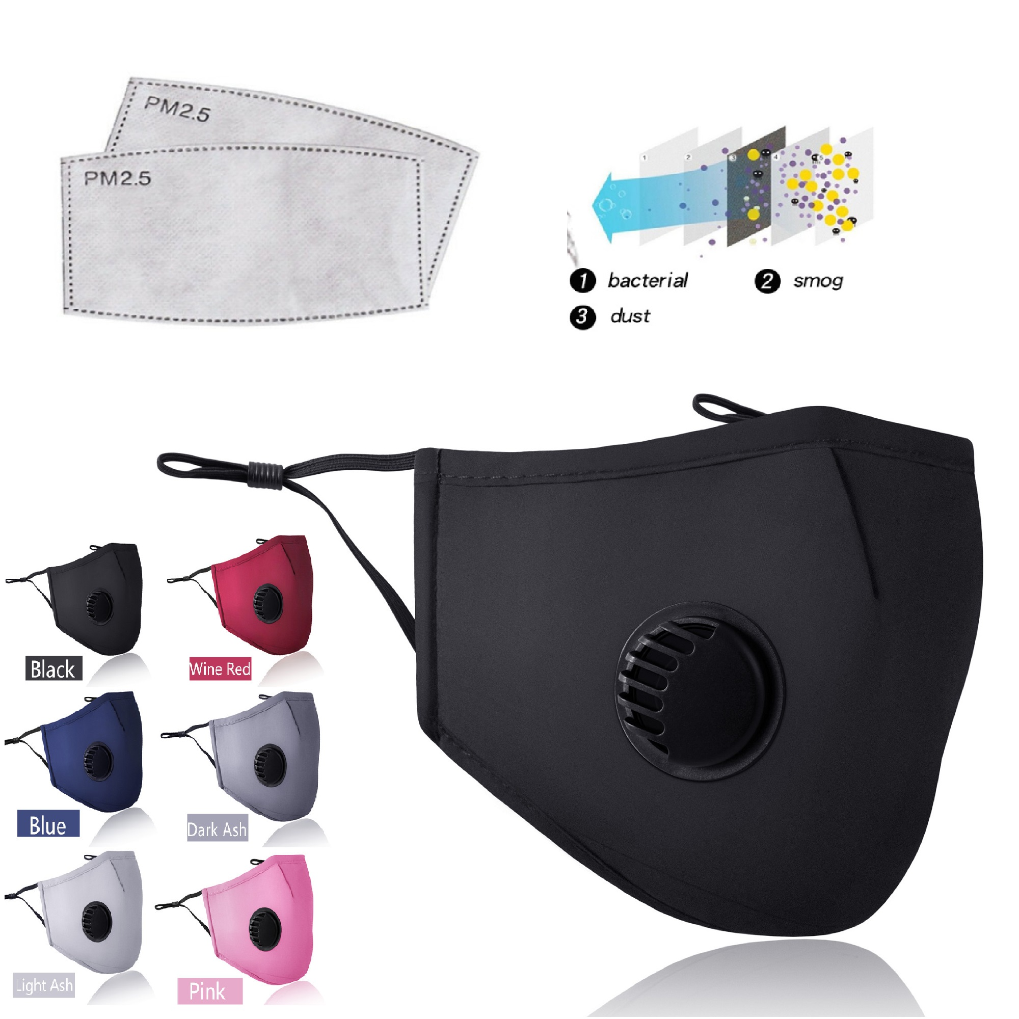 PM2.5 Mouth Mask Anti-dust Mask Reusable Mask With Breathing Valve Cotton Masks Washable Face Masks Filter