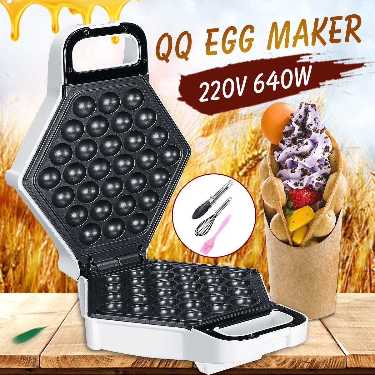 220V Electric Chinese for Egg Bubble WaffleMaker Eggettes Puff Cake Iron HongKong for Egg Muffin Machine Oven Non-stick Plate
