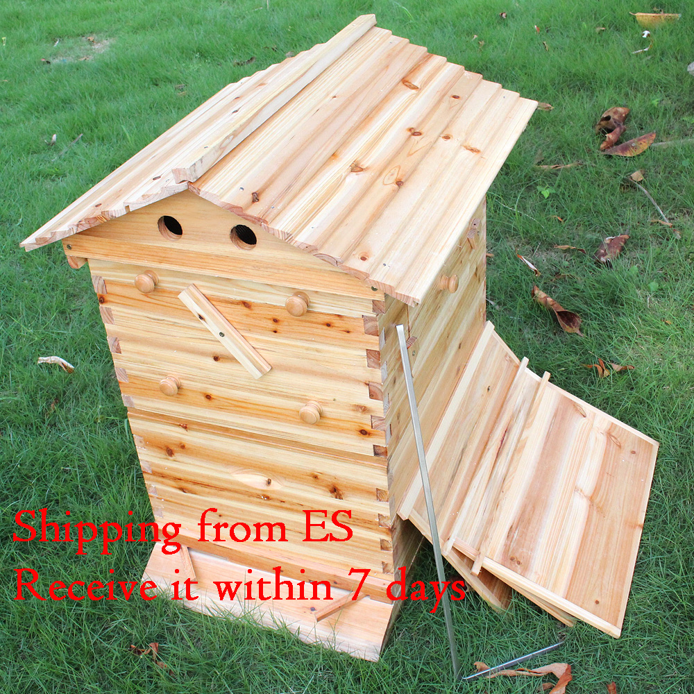 Automatic Wooden Bees Box Wooden Bee Nest Beekeeping Equipment Beekeeper Tool For Bee Hive Supply German Warehouse Deliver