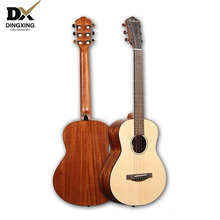 Baby travel Acoustic guitar 34 inch Spruce top Solid Wood musical Stringed instruments steel strings guitarra professional China high quality 39 acoustic classical guitar wood color guitarra musical instruments with guitar strings