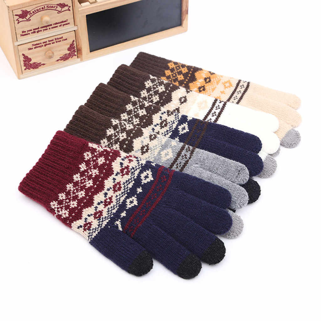 Impressão de natal do vintage luvas de inverno para as mulheres quentes luvas de lã térmica engrossar luvas de tela de toque feminino handschoen
