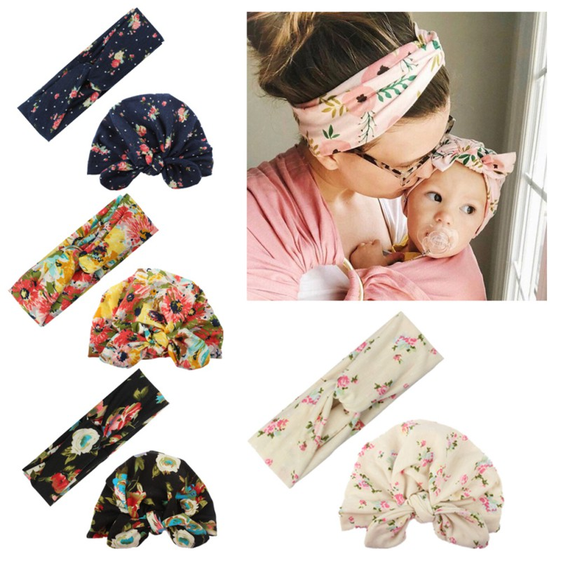 Fashion Mother-Baby Turban Mom And Me Matching Headband Mom Daughter Headwear Rabbit Ears Floral Print Hair Accessories 2Pc/Set