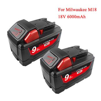 18V 9 0Ah akumulator litowo-jonowy do Milwaukee Xc M18 M18B 48-11-1850 48-11-1815 48-11-1820 48-11-1852 48-11-1828 akumulatorowa bateria tanie i dobre opinie bonacell Milwaukee M18 M 18 Li-ion 9000mAh Baterie Tylko Black Rechargeable Li-ion Battery For Milwaukee 48-11-1822 48-11-1811