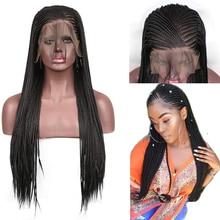 RONGDUOYI 13x6 синтетические парики на кружеве для женщин длинные черные плетеные косички парики термостойкие бесклеевые передние парики на шнурке