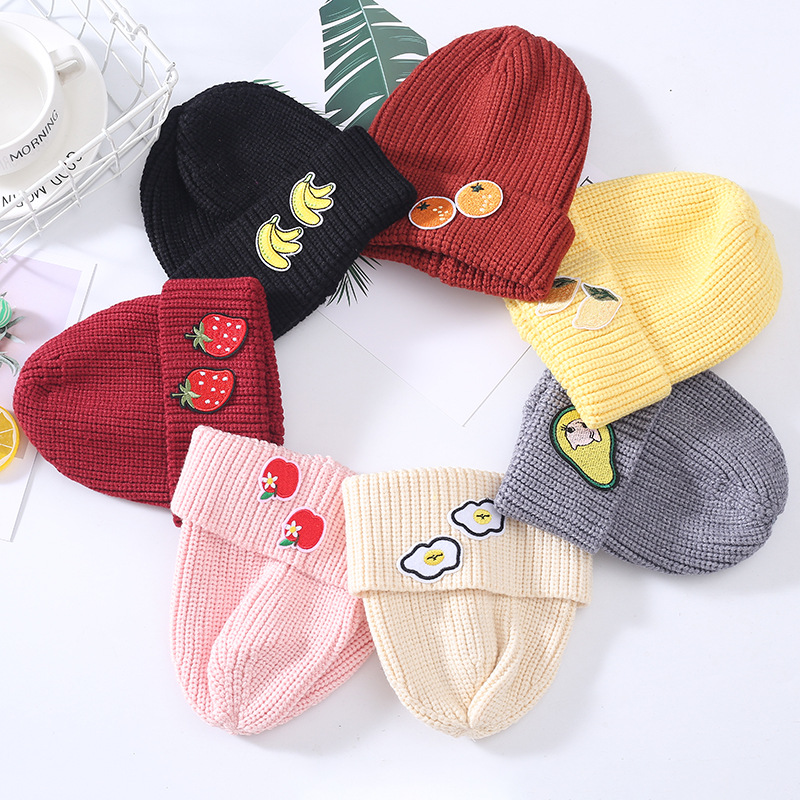 Beanie Hat Skullies-Cap Thicken Girl Winter Cotton New Fruit for Kid Boy And 67 Embroidery