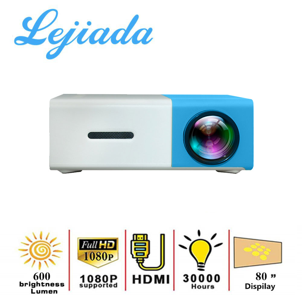 LEJIADA YG300 micro LED projector supports 1080P HD playback HDMI USB portable projector home theater multimedia video player()