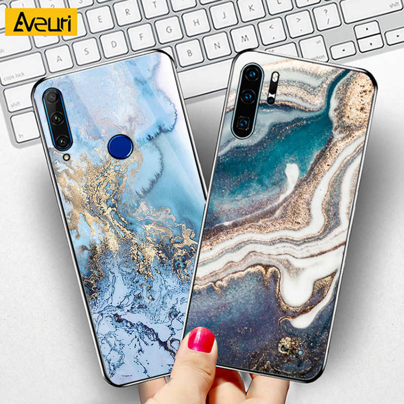 Luxury Marble Glass Phone Case For Huawei Nova 2 3 3i 5T P SMART Z Plus 2019 P9 Plus P10 Lite P20 P30 Lite Pro Cover Case Coque