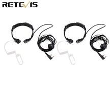 2 Pcs Keel Microfoon Headset Voor Transceiver Throate Microfoon Voor Kenwood Tyt Baofeng Uv 5R UV 82 Retevis H777 RT 5R RT22 RT3 RT81