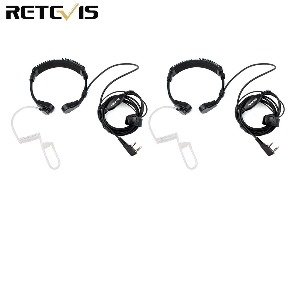 2pcs Throat Mic Headset For Transceiver Throate Microphone For Kenwood TYT Baofeng UV 5R UV-82 Retevis H777 RT-5R RT22 RT3 RT81