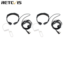 2pcs Throat Mic Headset For Transceiver Throate Microphone For Kenwood TYT Baofeng UV 5R UV 82 Retevis H777 RT 5R RT22 RT3 RT81
