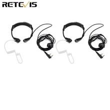 2pcs Adjust Size Throat Microphone Headset 2pin Finger PTT Earpiece For Kenwood Baofeng UV-5R Bf-888S Retevis H777 RT-5R RT22 RU