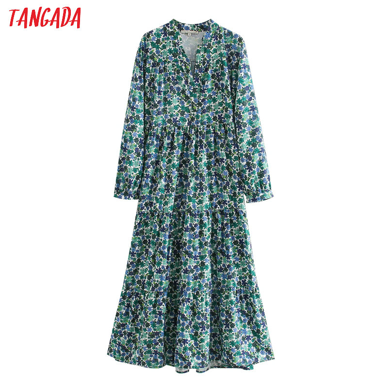 Tangada Women Elegant Maxi Dress Floral Printed V Neck Long Sleeve 2020 Fashion Casual Spring Dresses Vestido 5Z146