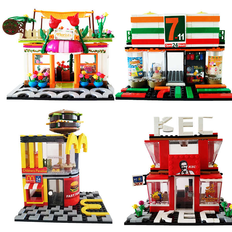 SEMBO City Legoing Streetscape Store Set Model Building Blocks Bricks Street View Toys For Kids Gifts