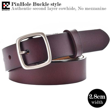 цена на 10p Authentic 2.8cm Width Women Genuine Leather Belts,Real Second Layer Cowhide PinHole Buckle Waistbands,with Buckle,100-115cm