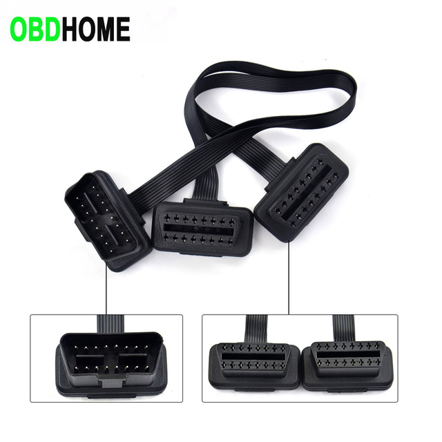 Flat Thin As Noodle 2in1 16Pin OBD 2 OBD2 Cable Connector Diagnostic Tool ELM327 Adapter Male to Female Extension Connector