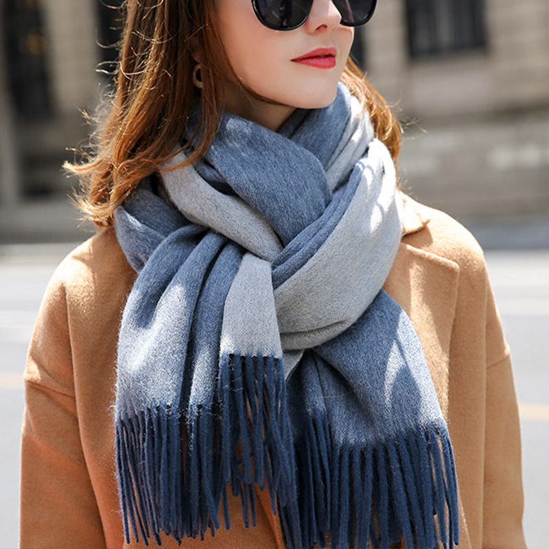 Winter 100% Wool Scarf For Women Tassels Multi-function Wool Shawls and Wraps Ladies Thick Warm Fashion Pure Wool Scarves Blue