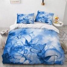 Simple Bedding Sets 3D Plant Flower Duvet Quilt Cover Set Comforter Bed Linen Pillowcase King Queen