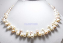 N3806 10mm natural white pink lilac growth pearl teardrop beads handmade necklace 28% Discount(China)
