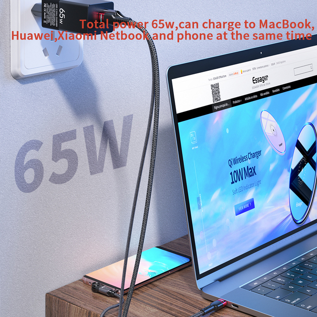 Essager GaN 65W USB C Charger Quick Charge QC PD 4.0 3.0 Type C Fast Charger For Macbook iPhone Tablet Xiaomi QC3.0 Wall Charger