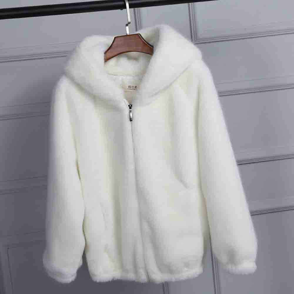 Delle donne di Inverno Caldo di Spessore Cappotto Solido Berretti di Lana Con Cappuccio della maglietta felpata Del Cardigan Allentato Cappotto femminile abbigliamento bianco rosa