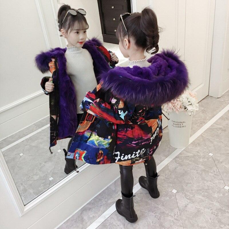 2019 mode fille chaud épaissir veste Long rembourré vêtements hiver vers le bas coton veste enfants à capuche manteaux adolescent survêtement-30 parka