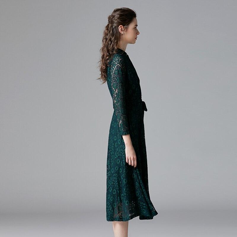 TAOYIZHUAI automne style décontracté robe pour les femmes o cou fit et flare taille haute bouton poignet genou longueur grande taille 14294 - 4