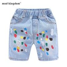 Mudkingdom Girls Shorts Colorful Graffiti Ripped Summer Fashion Denim Shorts for Kids