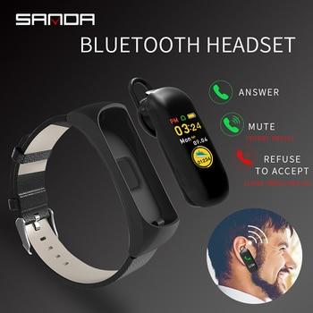 Sanda C15 Smart Bracelet Bluetooth Headset Call Watch Fitness Tracker Sport  Blood Pressure
