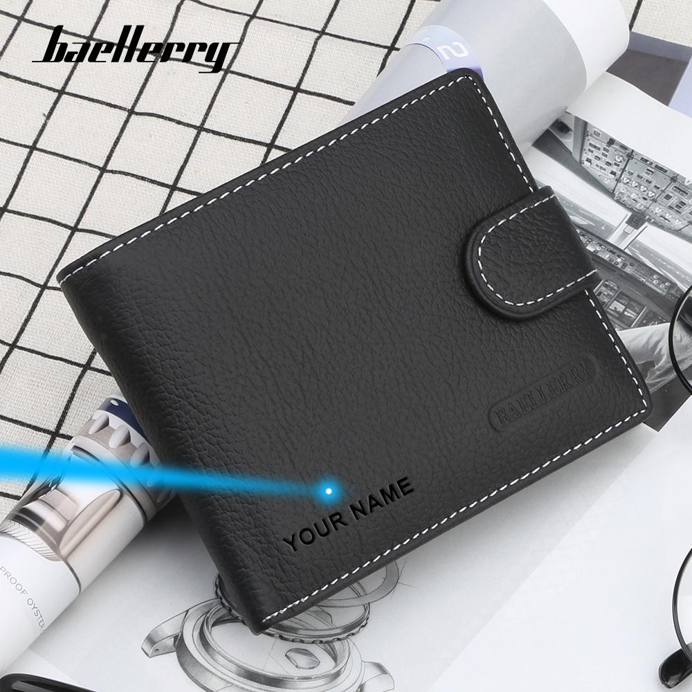 Baellerry Luxury Men Wallet Genuine Leather Card Holder Designer Wallet Bifold Minimalist Small Wallet Men Purse for Coins