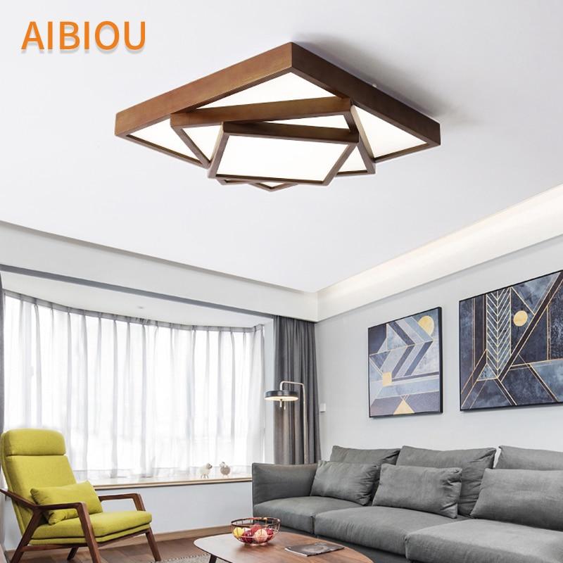 AIBIOU Square 220V LED Ceiling Lights For Foyer Rectangular Wooden Lamp Luminare Rooms Lighting Fixtures