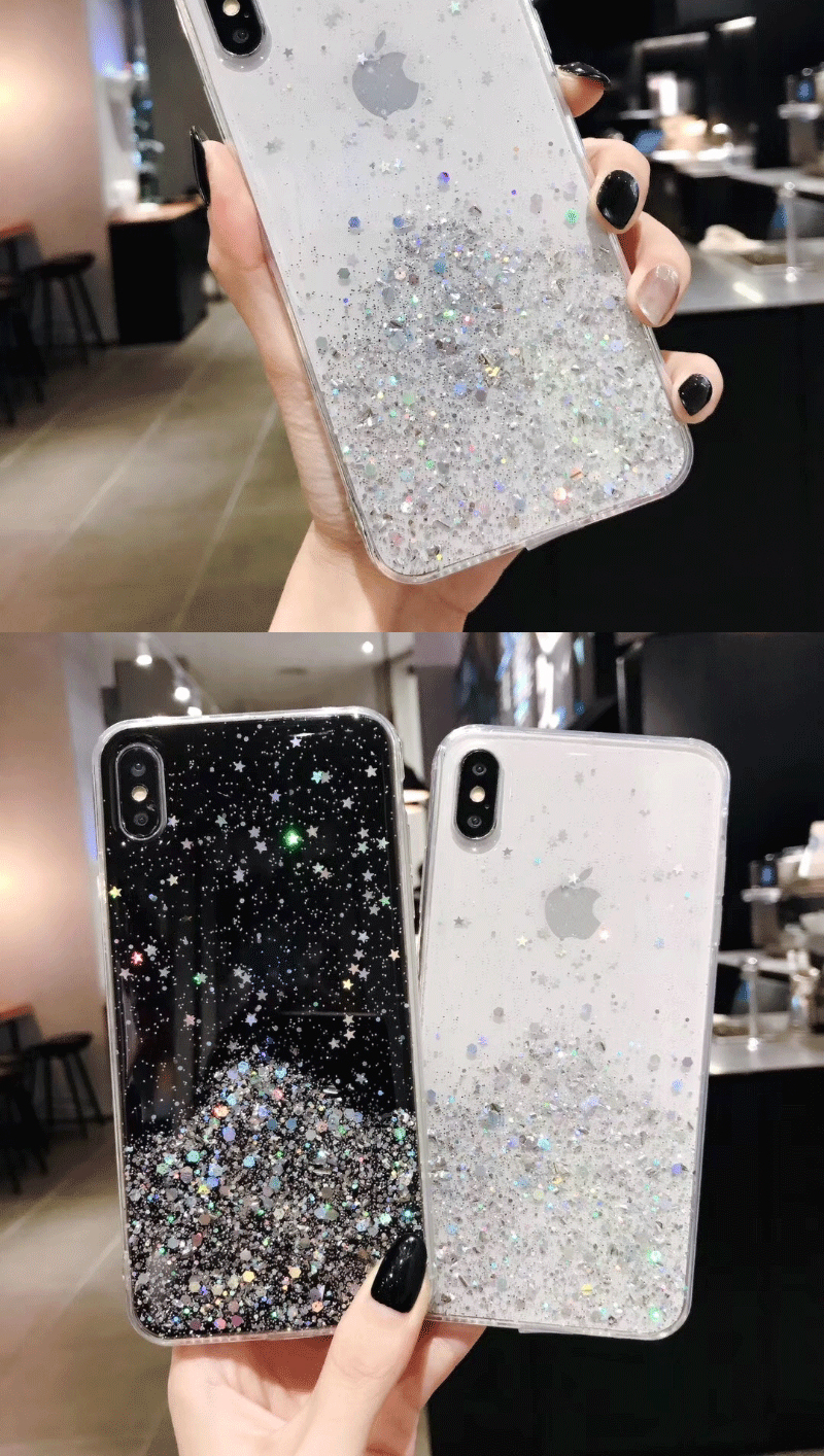 Hd1717160094e4da0aaef46869cecd23f2 - Solid quicks Case For iphone 11 8 7 Plus 6 6s Glitter Bling Sequins Epoxy Star Case For iphone 11 Pro MAX X XR XS Soft TPU Cover