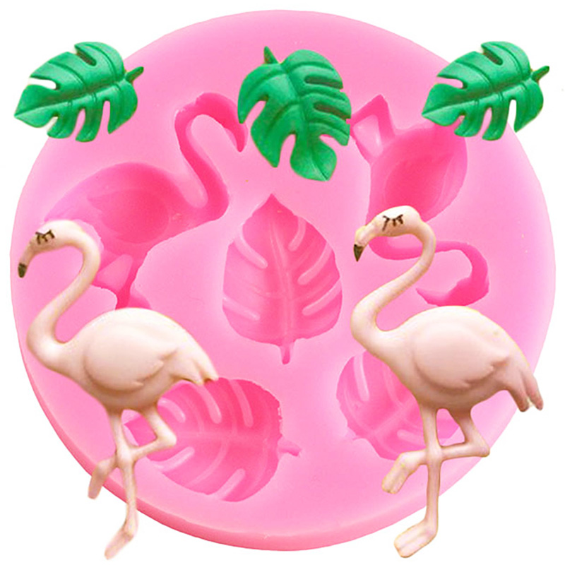 3D Flamingo Fondant Mold Baby Birthday Cake Decorating Turtle Leaf Silicone Molds Candy Polymer Clay Chocolate Gumpaste Moulds