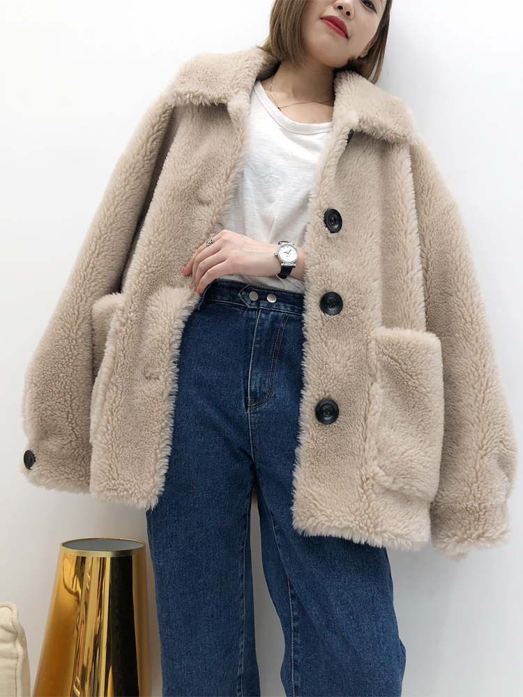 Sheep Shearing Overcoat Women 2020 Real Fur Coat Female Jacket Long Winter Warm Lamb Fur Coats Casaco Feminino LX2420
