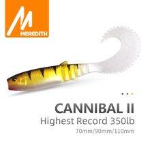 MEREDITH — Leurre Cannibal en silicone souple avec queue incurvée, appât artificiel wobbler idéal pour la pêche à l'alose ou au bar, 70/90/110mm