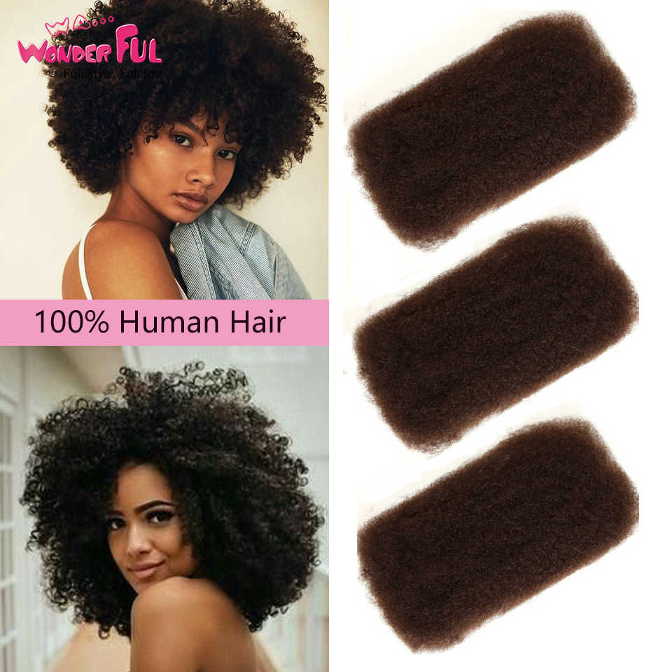 Brazilian Remy Hair Afro kinky Curly Bulk Human Hair For Braiding 1 Bundle 50g/pc Natural Color Braids Hair No Weft 1B/99J/27/30