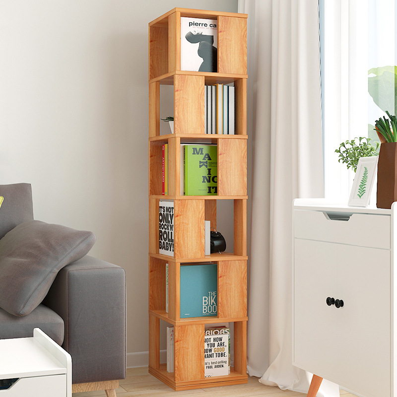 Rotating Bookshelf Floor Storage Shelf Simplicity Bookcase Students Creative Bookshelf Multi-functional Living Room Cabinet