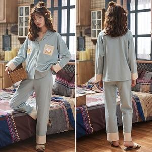 Image 3 - セクシーなパジャマセットの女性のパジャマ綿春冬長袖ホームウェアpijamasパジャマ女性ソフトかわいいブルーナイトウェア