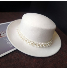 01910 jinri86 British Style winter  wool white solid pearl ribbon can remove lady  fedoras  cap women   jazz  hat