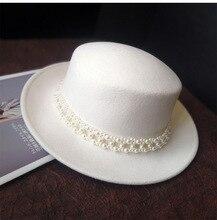 01910 jinri86 สไตล์อังกฤษฤดูหนาวขนสัตว์สีขาว Pearl Ribbon สามารถ Lady fedoras หมวกหมวกแจ๊ส