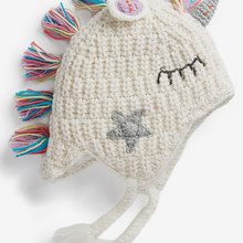 Ponytail Beanie Horned Wool-Hat Knitting Autumn Winter Children's Unicorn And One Earmuff-Hat