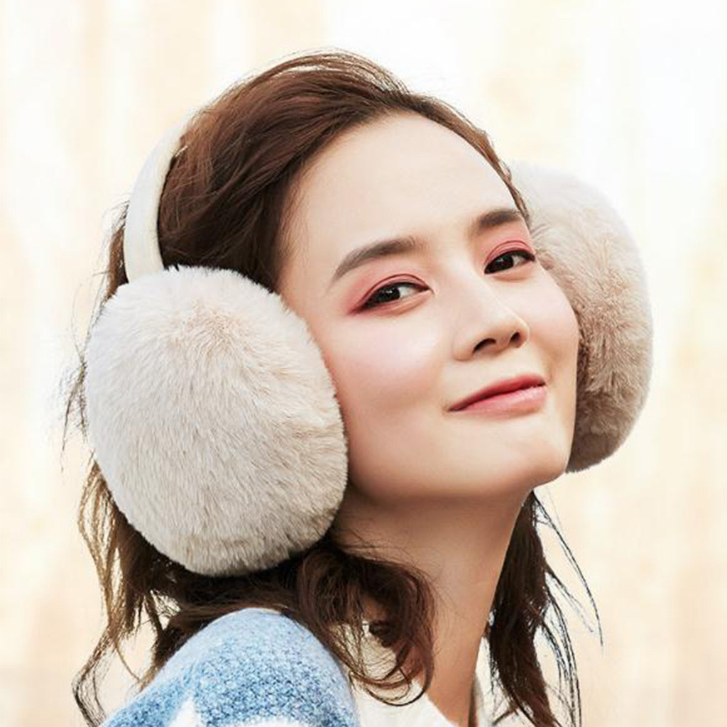 Hand Painted Tulip Plant Flower Winter Earmuffs Ear Warmers Faux Fur Foldable Plush Outdoor Gift