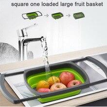 Экологичный кухонный Органайзер телескопическая складная корзина для слива растягивающаяся ручка кухонный гаджет для хранения Складная корзина ситечко