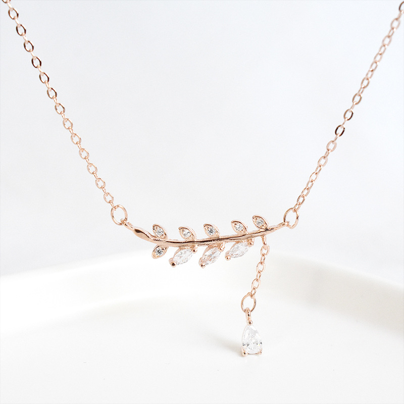 ZOBEI  Real 925 Sterling Silver Zircon Leaves Pendant Necklace For Fashion Women Party Cute Fine Jewelry 2019 Gift